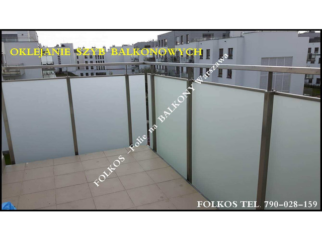 Folia na balkon Pruszków- oklejanie szklanych balustrad balkonowych-Folkos folie na balkony
